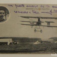 Postales: PIONEROS DE LA AVIACION BIELOVUCCI CON BIPLANO EN VUELO ORIGINAL. Lote 166367910