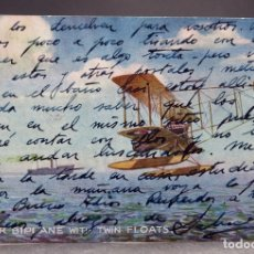 Postales: POSTAL DIBUJADA PUSHER BIPLANE WITH TWIN FLOATS RAPHAEL TUCK & SONS OIELETTE CIRCULADA SELLO 1926. Lote 169424164