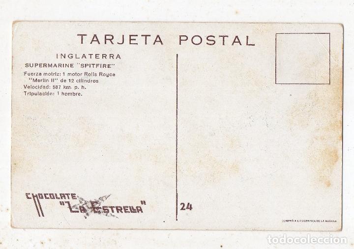 Postales: Supermarine Spitfire. Publicidad de Chocolates La Estrella. - Foto 2 - 175356443