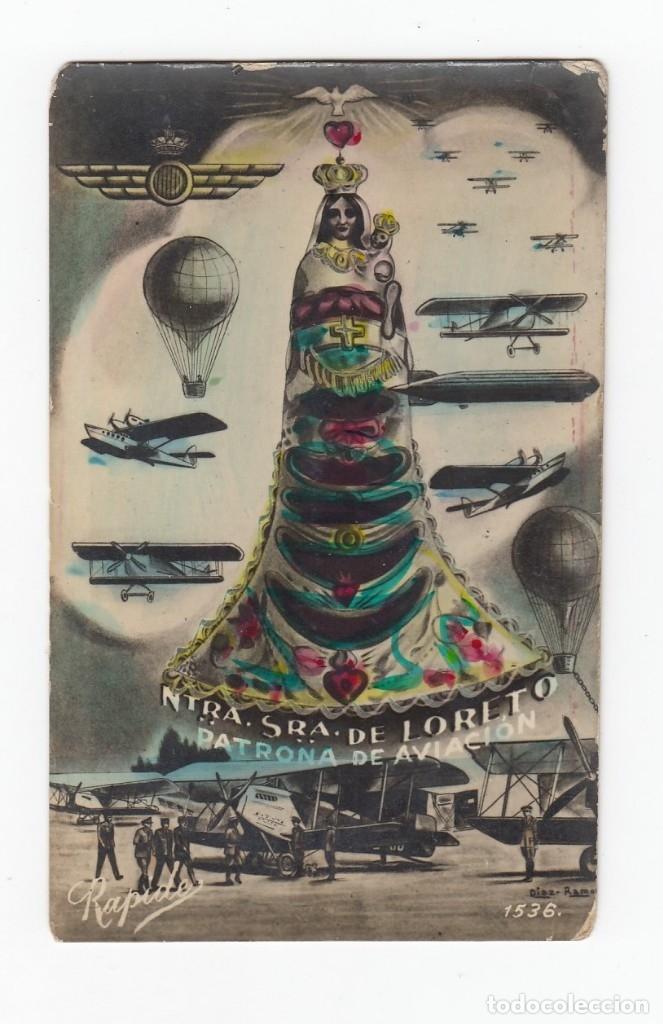 POSTAL MILITAR. NTRA.SRA.DE LORETO. PATRONA DE LA AVIACIÓN.CIRCULADA EN EL AÑO 1939. (Postales - Postales Temáticas - Aeroplanos, Zeppelines y Globos)