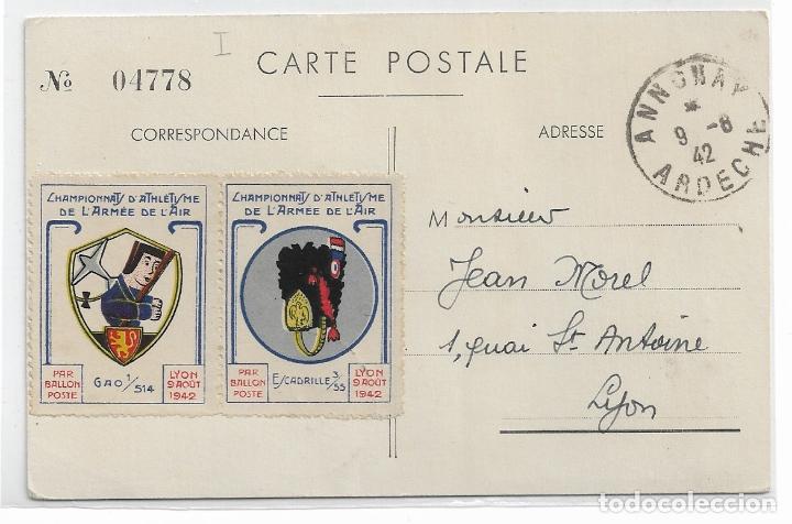 Postales: CHAMPIONNATS DATHLÉTISME DE LÁRMÉE DE LAIR 1942 - GLOBO AEROSTÁTICO - VIÑETAS - P29496 - Foto 2 - 177963415