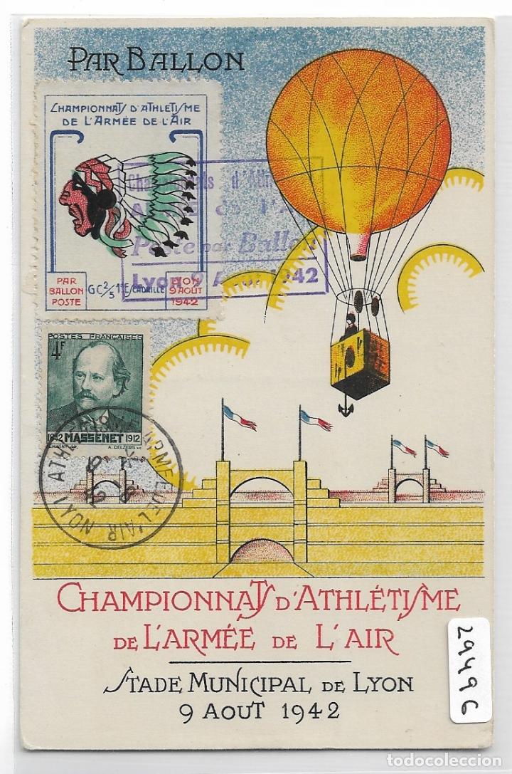 CHAMPIONNATS D'ATHLÉTISME DE LÁRMÉE DE L'AIR 1942 - GLOBO AEROSTÁTICO - VIÑETAS - P29496 (Postales - Postales Temáticas - Aeroplanos, Zeppelines y Globos)