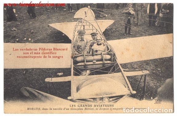 LES GRANDS AVIATEURS. POSTAL PUBLICITARIA DE PILDORAS BLANCARD (Postales - Postales Temáticas - Aeroplanos, Zeppelines y Globos)