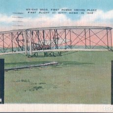 Postales: POSTAL FIRST POWER DRIVEN PLANE - WRIGHT BROS - CIRCULADA. Lote 179072256
