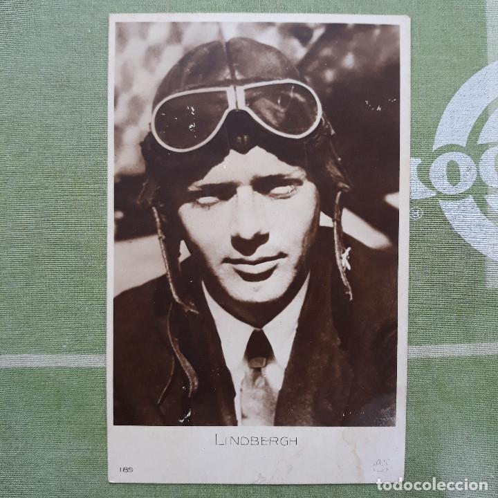 ANTIGUA FOTO-POSTAL DEL AVIADOR CHARLES LINDBERGH. CIRCULADA (Postales - Postales Temáticas - Aeroplanos, Zeppelines y Globos)