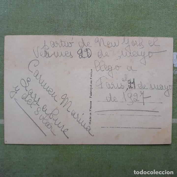Postales: antigua foto-postal del aviador CHARLES LINDBERGH. Circulada - Foto 2 - 179964573