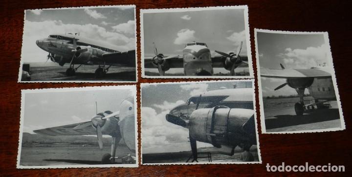 5 FOTOGRAFIAS DEL EL RAYO ROJO 1945 DE IBERIA QUE VOLARON DURANTE DOS DESCADAS DOUGLAS DC-3 , MIDEN (Postales - Postales Temáticas - Aeroplanos, Zeppelines y Globos)