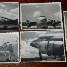 Postales: 5 FOTOGRAFIAS DEL EL RAYO ROJO 1945 DE IBERIA QUE VOLARON DURANTE DOS DESCADAS DOUGLAS DC-3 , MIDEN . Lote 182571362
