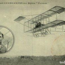 Postales: CAMMERMANN SUR BIPLAN FARMAN. AVIACIÓN. Lote 182828886