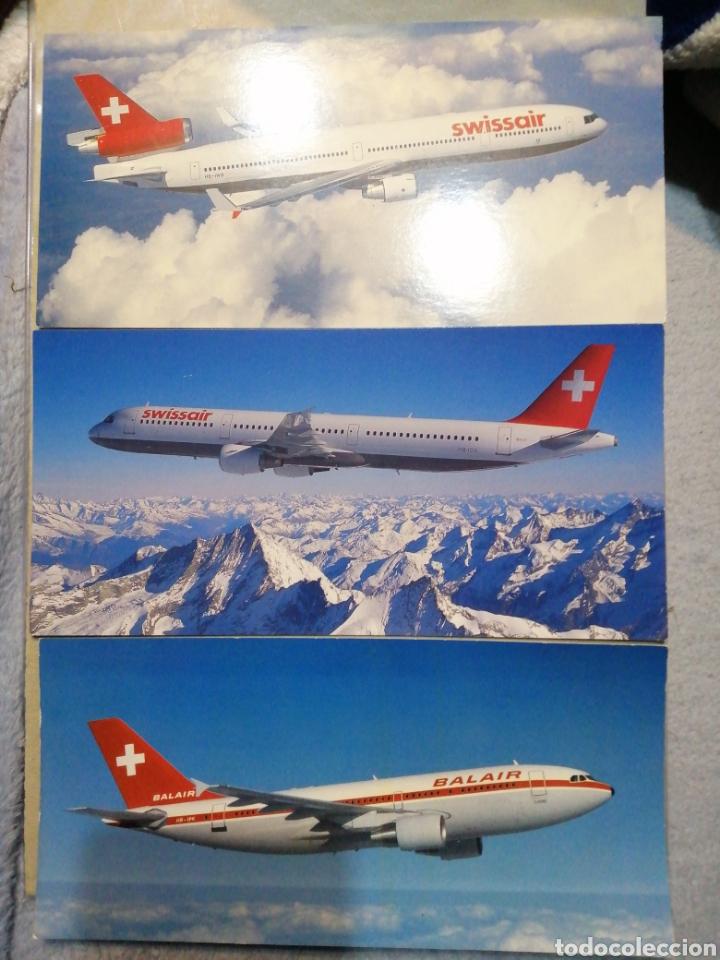 LOTE BALAIR Y SWISSAIR MEDIDAS 21X10 (Postales - Postales Temáticas - Aeroplanos, Zeppelines y Globos)