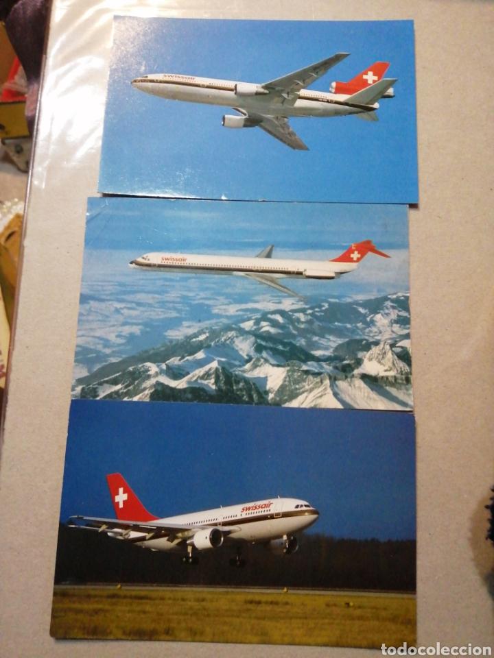 LOTE AVIONES SWISSAIR (Postales - Postales Temáticas - Aeroplanos, Zeppelines y Globos)