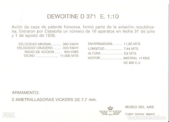 Postales: POSTAL MUSEO DEL AIRE - DEWOITINE D 371 E. 1:10 - Foto 2 - 187478710