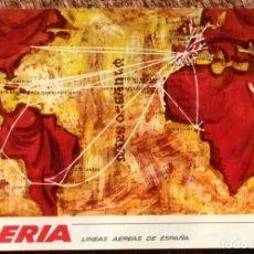 Postales: IBERIA - MAPA DE RUTAS - CIRCULADA DESDE NEW YORK A VALENCIA. Lote 246220045