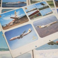 Postales: LOTE 40 POSTALES DE AVIONES Y MÁS DE 100 FOTOS DE AVIONES, MONTADAS EN HOJAS DE ÁLBUM DE FOTOS . Lote 190351243