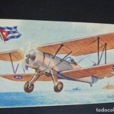 Postales: TARJETA POSTAL DE AVION. CHOCOLATES LA ESTRELLA. STEARMAN. CUBA. BIPLANO.. Lote 190803901