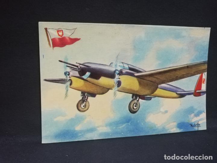 TARJETA POSTAL DE AVION. CHOCOLATES LA ESTRELLA. P.Z.L. WILK. POLONIA. MONOPLANO CAZA. (Postales - Postales Temáticas - Aeroplanos, Zeppelines y Globos)