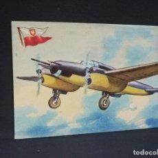 Postales: TARJETA POSTAL DE AVION. CHOCOLATES LA ESTRELLA. P.Z.L. WILK. POLONIA. MONOPLANO CAZA.. Lote 190809915