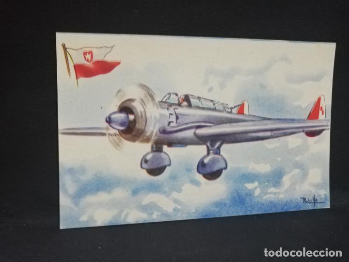 TARJETA POSTAL DE AVION. CHOCOLATES LA ESTRELLA. P.Z.L. SUM. POLONIA. BOMBARDEADOR MEDIANO. (Postales - Postales Temáticas - Aeroplanos, Zeppelines y Globos)