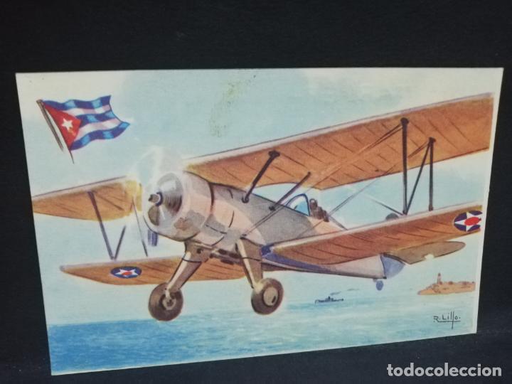 TARJETA POSTAL DE AVION. CHOCOLATES LA ESTRELLA. STEARMAN. CUBA. BIPLANO. (Postales - Postales Temáticas - Aeroplanos, Zeppelines y Globos)