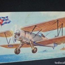 Postales: TARJETA POSTAL DE AVION. CHOCOLATES LA ESTRELLA. STEARMAN. CUBA. BIPLANO.. Lote 190815300