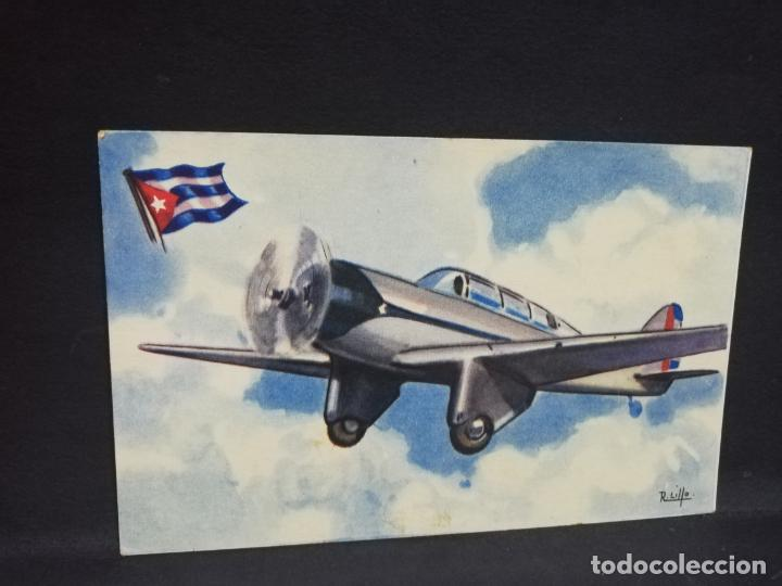 TARJETA POSTAL DE AVION. CHOCOLATES LA ESTRELLA. CURTISS- WRIGHT. CUBA. MONOPLANO ENTRENAMIENTO. (Postales - Postales Temáticas - Aeroplanos, Zeppelines y Globos)
