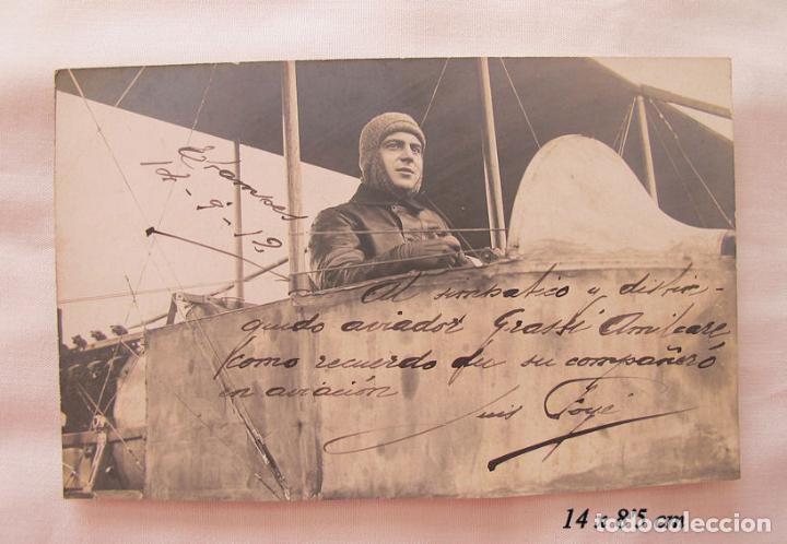 FOTO POSTAL ANTIGUA 1912 LUIS FOYE PRIMER PILOTO AVION CATALAN FIRMADA (Postales - Postales Temáticas - Aeroplanos, Zeppelines y Globos)