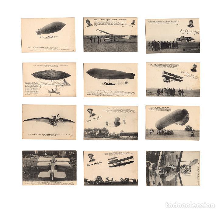 HISTORIA DE LA AVIACIÓN. ARENÁUTICA.AÉROPLANO. ZEPPELIN .DIRIGIBLE. GLOBO. 44 POSTALES. SIN CIRCULAR (Postales - Postales Temáticas - Aeroplanos, Zeppelines y Globos)
