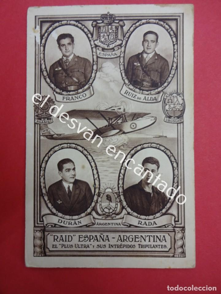 RAID ESPAÑA-ARGENTINA. POSTAL CONMEMORATIVA VUELO DEL PLUS ULTRA (Postales - Postales Temáticas - Aeroplanos, Zeppelines y Globos)