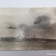 Postales: POSTAL CON BARCO, AVIÓN Y ZEPPELIN DE GUERRA. FECHADA EN SANTANDER EL 09.08.1933. Lote 193086981