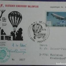 Postales: BELGICA 29-6-1974 VUELO EN GLOBO DEL PUEBLO INFANTIL ALEMÁN.. Lote 194155730