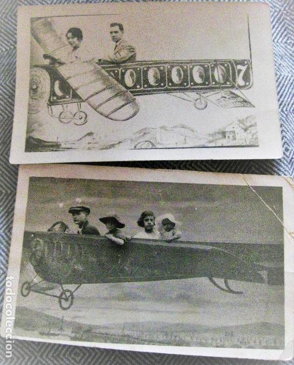 2 POSTAL FOTOGRAFIA DE ESTUDIO FAMILIA EN AEROPLANO AVIONETA . 1 LAS PLANAS BARCELONA (Postales - Postales Temáticas - Aeroplanos, Zeppelines y Globos)