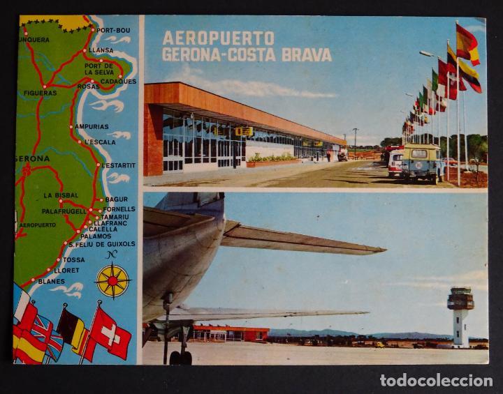 AEROPUERTO DE GIRONA-COSTA BRAVA, ANTIGUA POSTAL CIRCULADA, VER FOTO REVERSO (Postales - Postales Temáticas - Aeroplanos, Zeppelines y Globos)