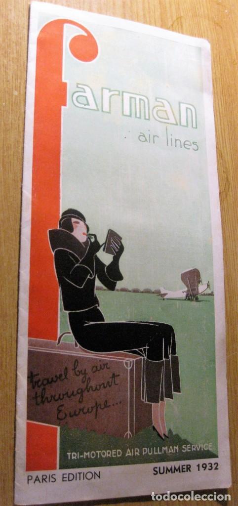 BONITO CATALOGO FOLLETO PUBLICIDAD FARMAN AIR LINES 1932 AEROPLANO AVIONES LINEAS AEREAS FRANCIA (Postales - Postales Temáticas - Aeroplanos, Zeppelines y Globos)