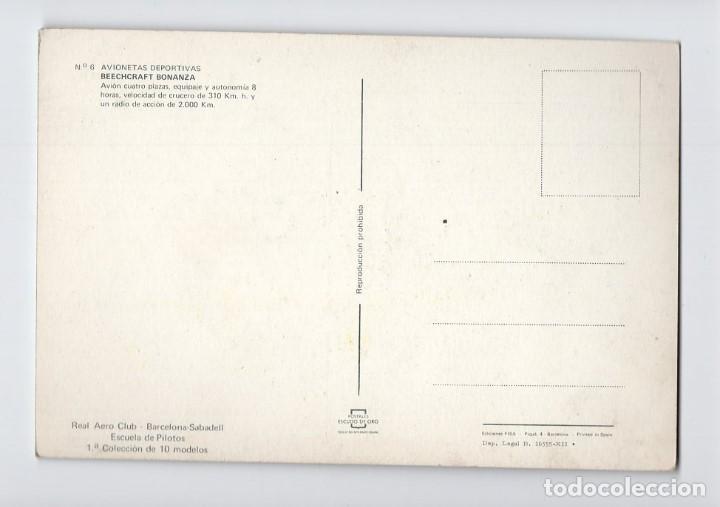 Postales: Avionetas deportivas · Beechcraft Bonanza -Escudo de Oro, 1969- - Foto 2 - 195197245