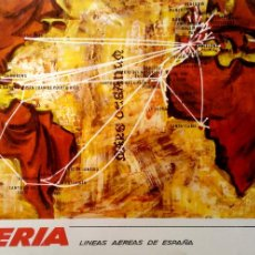 Cartes Postales: IBERIA. LÍNEAS AÉREAS DE ESPAÑA. MAPA COM VARIAS RUTAS. NUEVA. COLOR. Lote 195532075