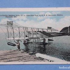 Postales: A CURTISS SEAPLANE READY FOR AN INSTRUCTION AL U.S.N: AERONAUTICA STATION, PENSACOLA, FLA.. Lote 196017937