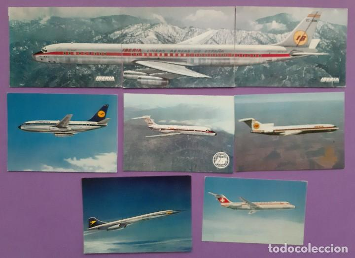 LOTE 8 POSTALES AVIONES LUFTHANSA IBERIA (Postales - Postales Temáticas - Aeroplanos, Zeppelines y Globos)
