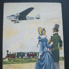 Cartoline: AVION-FERROCARRIL-ALA LITTORIA S.A.-POSTAL PUBLICIDAD ANTIGUA-(69.203). Lote 202355670