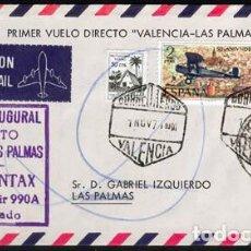 Postales: SOBRE CARTA PRIMER DIA VUELO INAUGURAL DIRECTO VALENCIA LAS PALMAS SPANTAX CONVAIR CORONADO NOV 1971. Lote 202777775