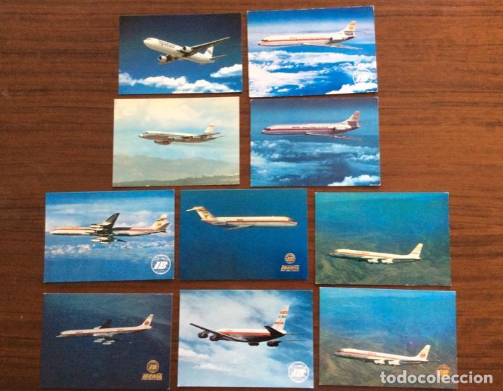 10 POSTAL AVIÓN. IBERIA, SPANTAX, SPANAIR. DC8-DC9-CARAVELLE-CONVAIR. AÑOS 60-70 (Postales - Postales Temáticas - Aeroplanos, Zeppelines y Globos)