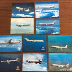 Postales: 10 POSTAL AVIÓN. IBERIA, SPANTAX, SPANAIR. DC8-DC9-CARAVELLE-CONVAIR. AÑOS 60-70. Lote 203766986