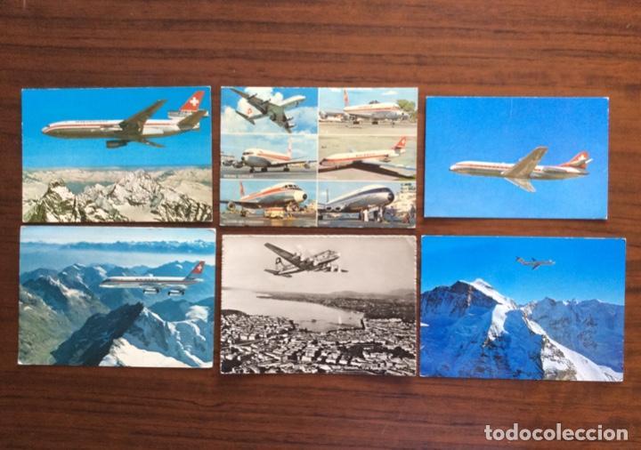 6 POSTAL AVIÓN. SWISSAIR. DC9-DC10-CARAVELLE-CORONADO. (Postales - Postales Temáticas - Aeroplanos, Zeppelines y Globos)