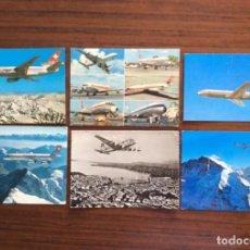 Postales: 6 POSTAL AVIÓN. SWISSAIR. DC9-DC10-CARAVELLE-CORONADO.. Lote 203767605