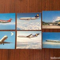 Postales: 6 POSTAL AVIÓN. LUFTHANSA, AIR FRANCE, AUSTRIAN AIRLINES. DC10-FOKKER F28-CARAVELLE-BOEING 720 727.. Lote 203769078