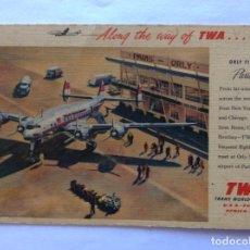 Postales: POSTAL AVIÓN. TWA TRANS WORLD AIRLINES. AEROPUERTO DE PARIS ORLY. FRANCIA. AÑOS 50.. Lote 203771001
