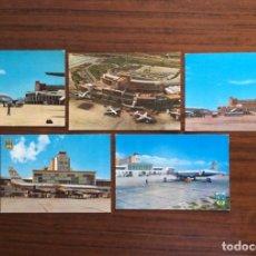 Postales: 5 POSTAL AVIÓN. AEROPUERTO DE BARAJAS. MADRID . AÑOS 60. Lote 203774256