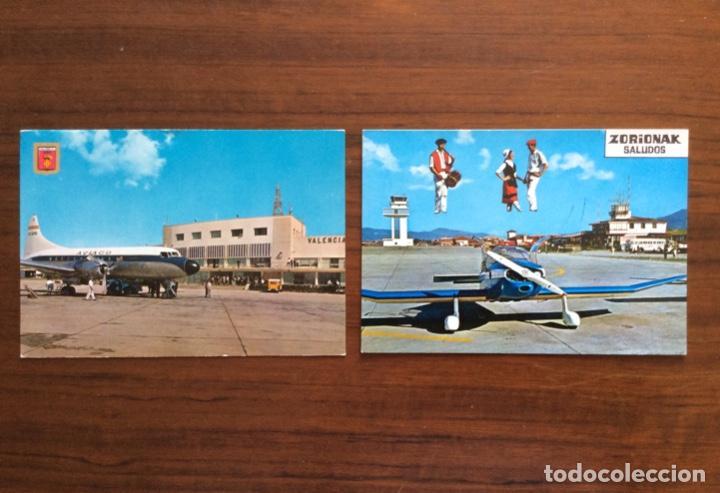 2 POSTAL AVIÓN. AEROPUERTO DE MANISES, VALENCIA Y SONDICA, BILBAO, VIZCAYA. (Postales - Postales Temáticas - Aeroplanos, Zeppelines y Globos)