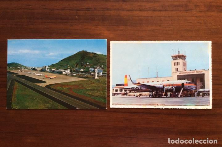 2 POSTAL AVIÓN. AEROPUERTO DE LOS RODEOS, TENERIFE Y GANDO, GRAN CANARIA. CANARIAS. (Postales - Postales Temáticas - Aeroplanos, Zeppelines y Globos)