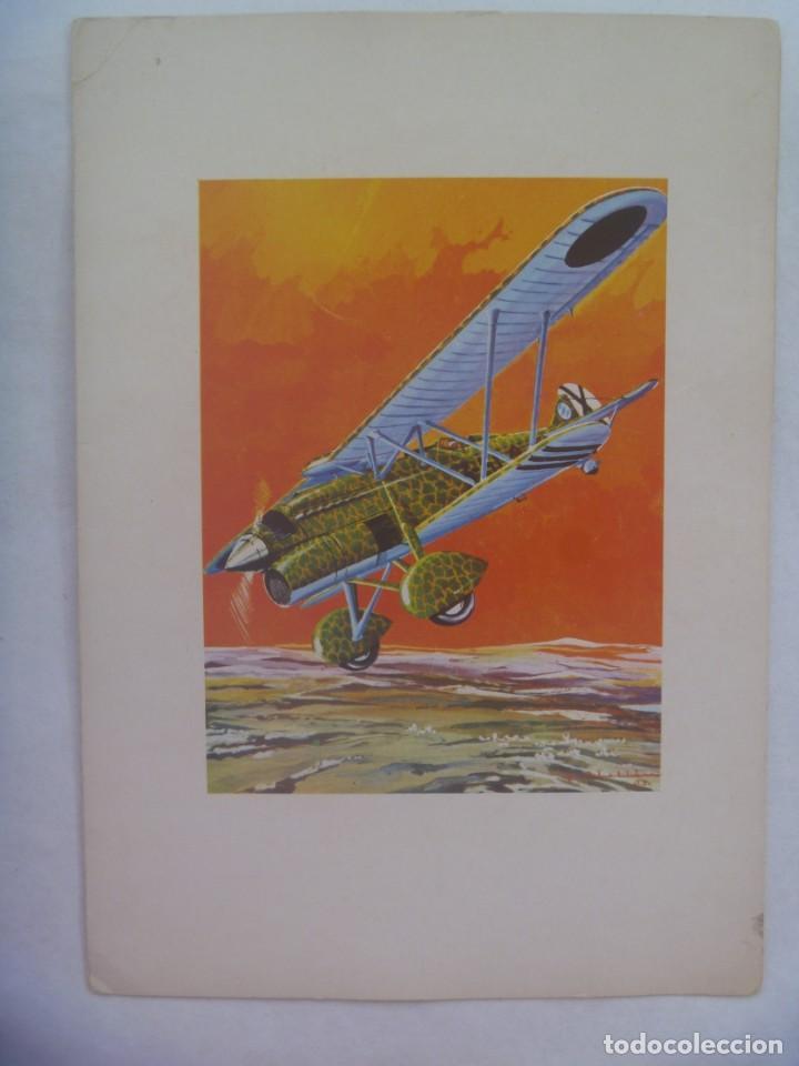 AVIACION : POSTAL DE UN AVION DE LA GUERRA CIVIL, EL FIAT CR-32, CHIRRI. DIBUJO DE ABELLAN (Postales - Postales Temáticas - Aeroplanos, Zeppelines y Globos)