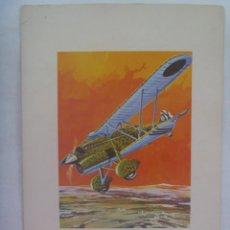 Postales: AVIACION : POSTAL DE UN AVION DE LA GUERRA CIVIL, EL FIAT CR-32, CHIRRI. DIBUJO DE ABELLAN. Lote 204667806
